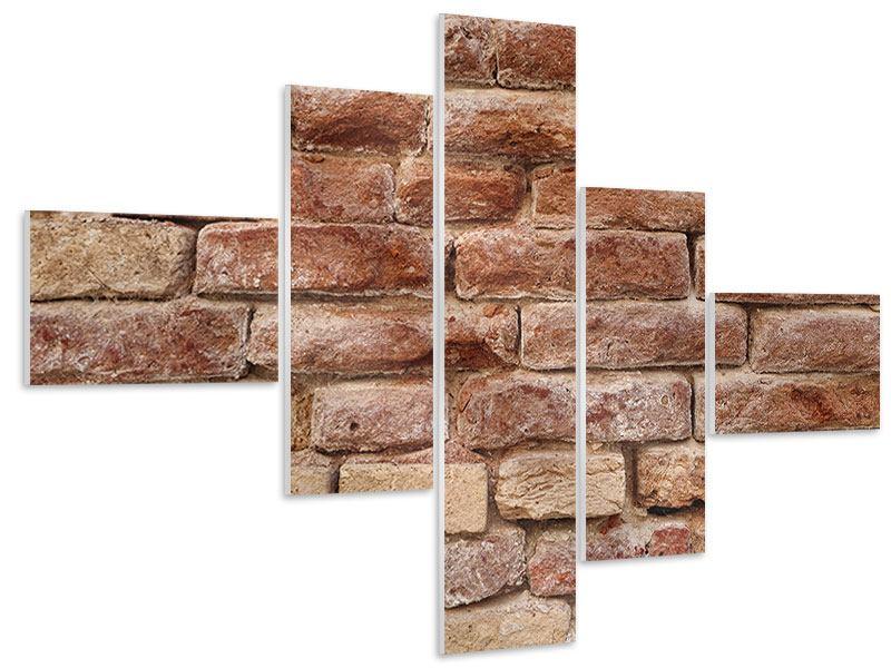 Hartschaumbild 5-teilig modern Loft-Mauer