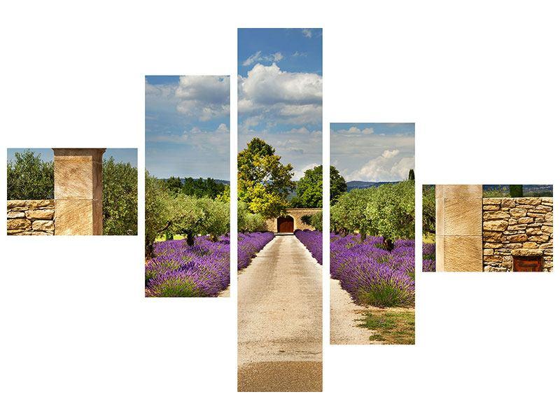 Hartschaumbild 5-teilig modern Lavendel-Garten