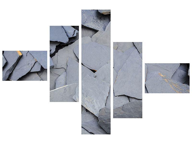 Hartschaumbild 5-teilig modern Schieferplatten