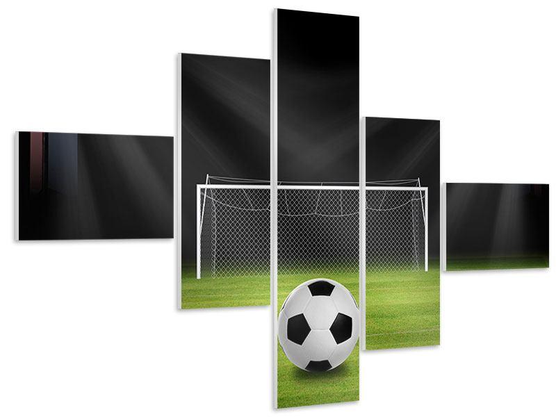 Hartschaumbild 5-teilig modern Fussball-Tor