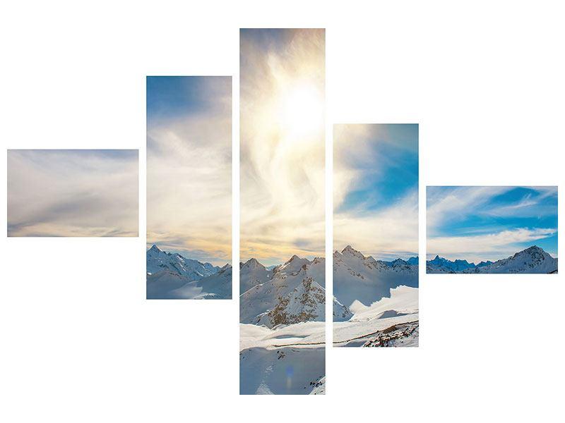 Hartschaumbild 5-teilig modern Über den verschneiten Gipfeln