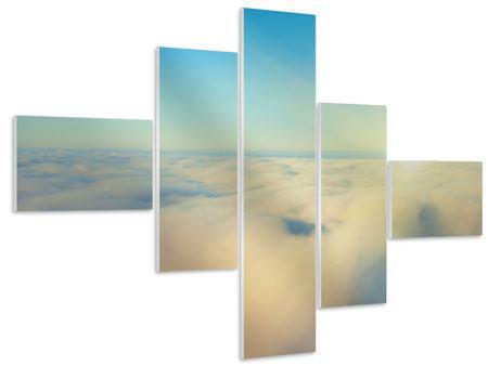 Hartschaumbild 5-teilig modern Dämmerung über den Wolken