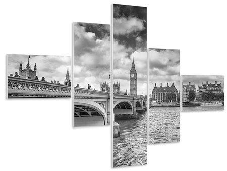 Hartschaumbild 5-teilig modern Westminster Bridge