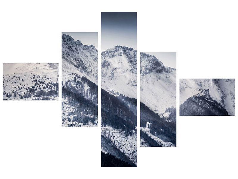 Hartschaumbild 5-teilig modern Die Berge der Schweiz