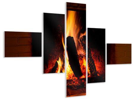Hartschaumbild 5-teilig modern Feuer im Kamin