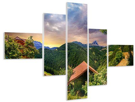 Hartschaumbild 5-teilig modern Schweizer Berge im Sommer