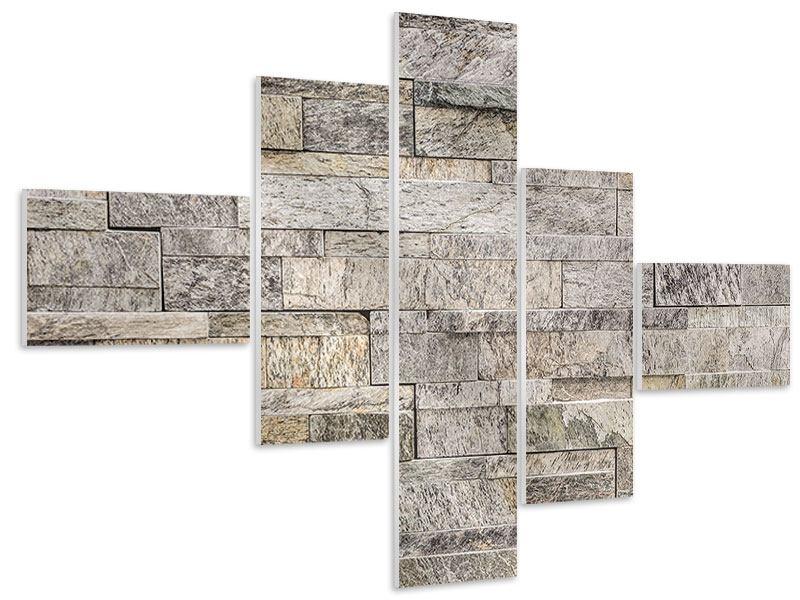 Hartschaumbild 5-teilig modern Elegante Steinmauer