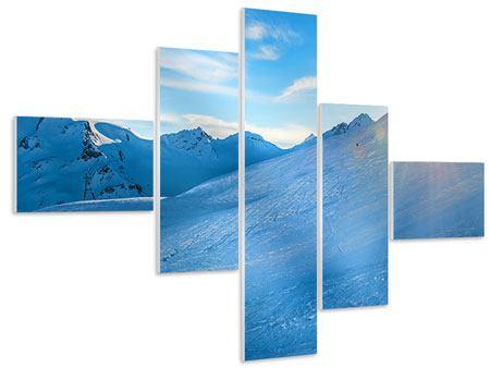 Hartschaumbild 5-teilig modern Sonnenaufgang in den Bergen