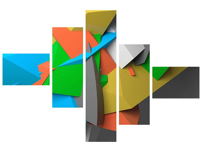 Hartschaumbild 5-teilig modern 3D-Geometrische Figuren