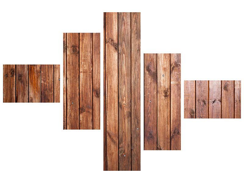 Hartschaumbild 5-teilig modern Edelholz