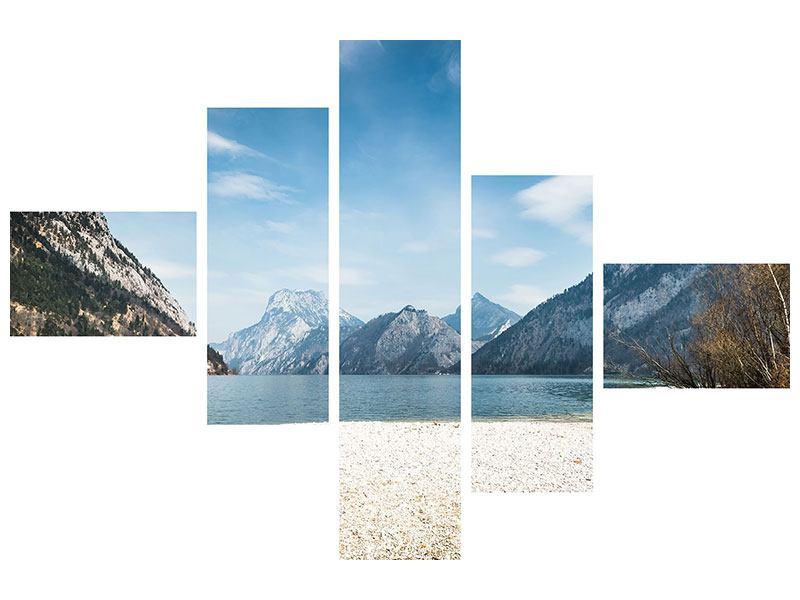 Hartschaumbild 5-teilig modern Der idyllische Bergsee