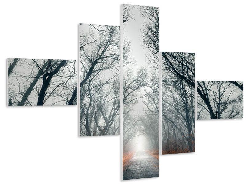 Hartschaumbild 5-teilig modern Mysteriöse Stimmung im Wald