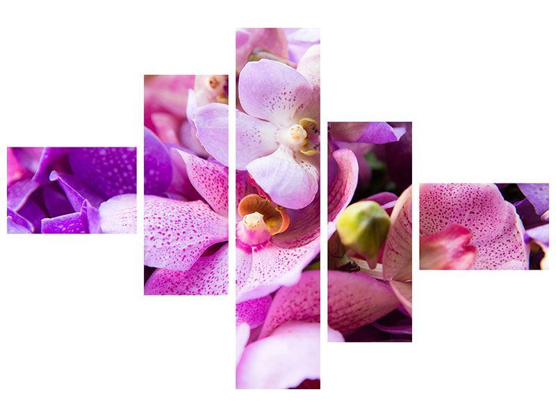 Hartschaumbild 5-teilig modern Im Orchideenparadies