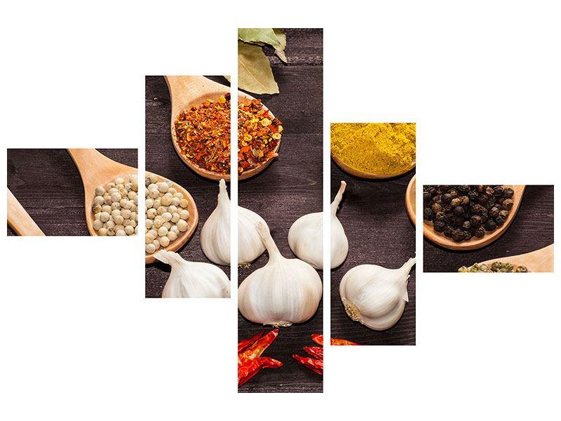 Hartschaumbild 5-teilig modern Italienische Gewürze