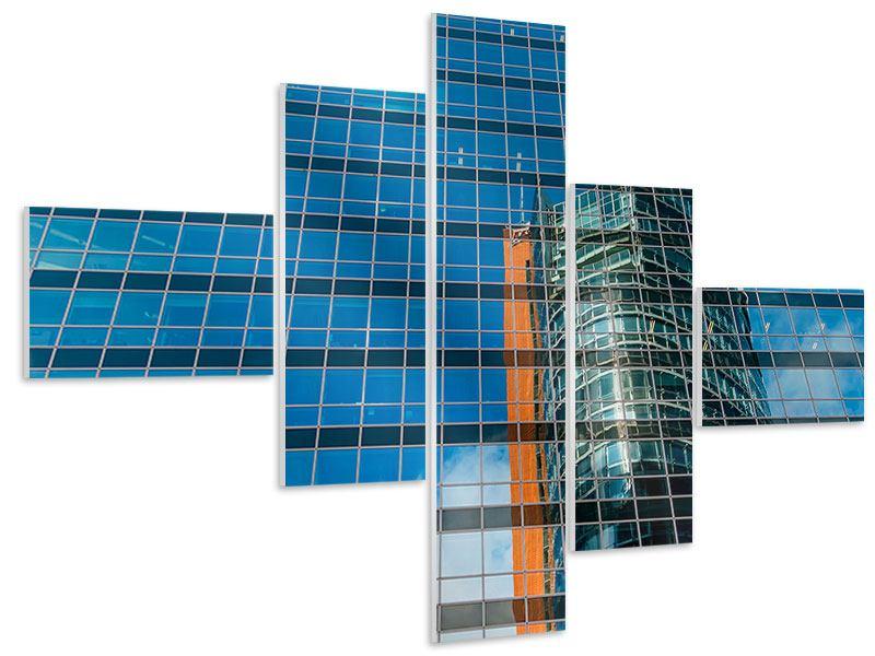 Hartschaumbild 5-teilig modern Wolkenkratzer-Spiegel