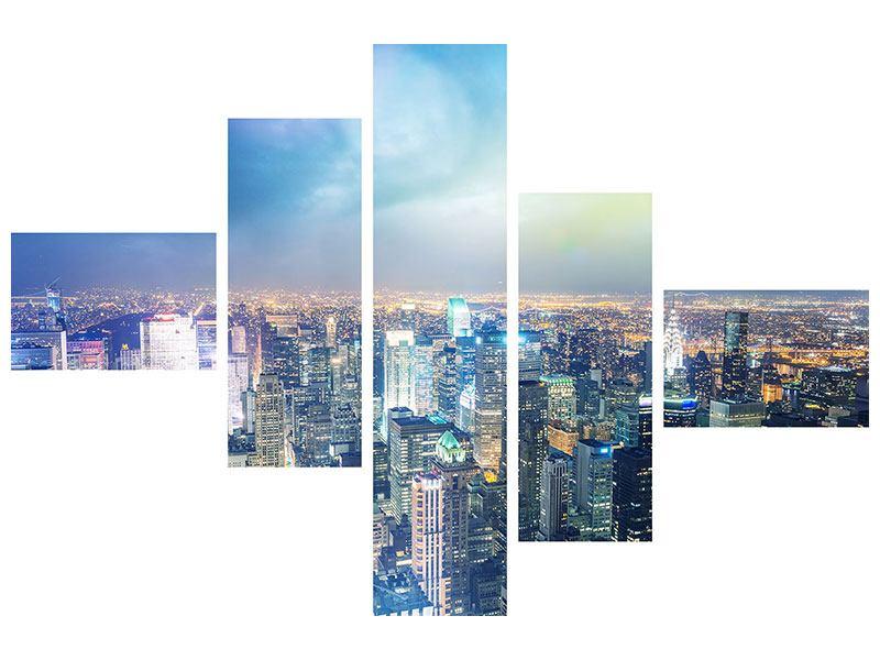 Hartschaumbild 5-teilig modern Skyline NY bei Sonnenuntergang