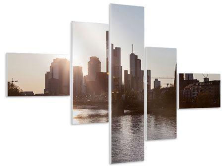 Hartschaumbild 5-teilig modern Skyline Sonnenaufgang bei Frankfurt am Main
