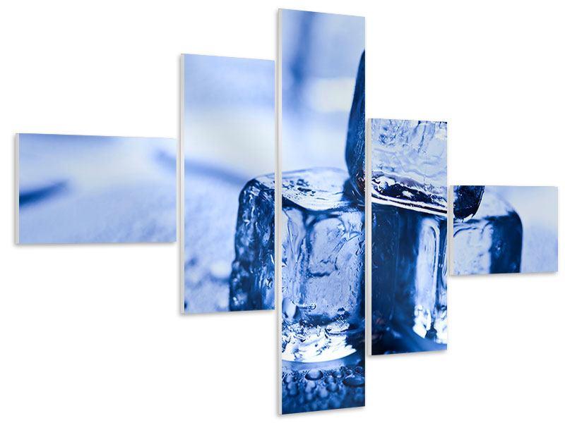 Hartschaumbild 5-teilig modern Eiswürfel