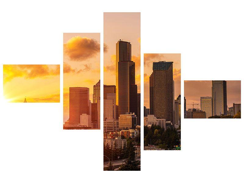 Hartschaumbild 5-teilig modern Skyline Washington