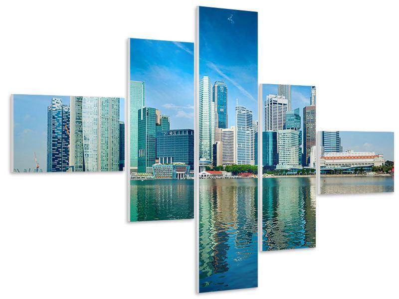 Hartschaumbild 5-teilig modern Skyline Mexiko-Stadt