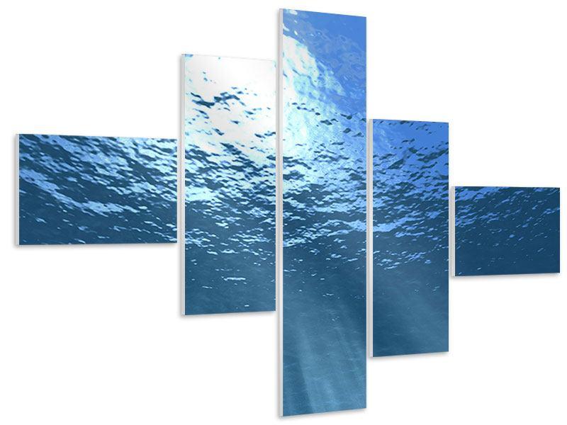 Hartschaumbild 5-teilig modern Sonnenstrahlen unter Wasser