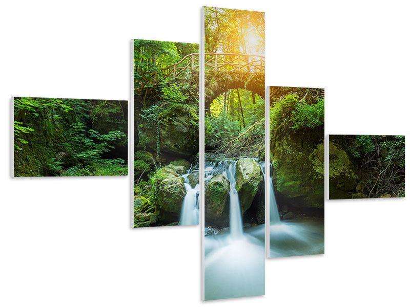 Hartschaumbild 5-teilig modern Wasserspiegelungen