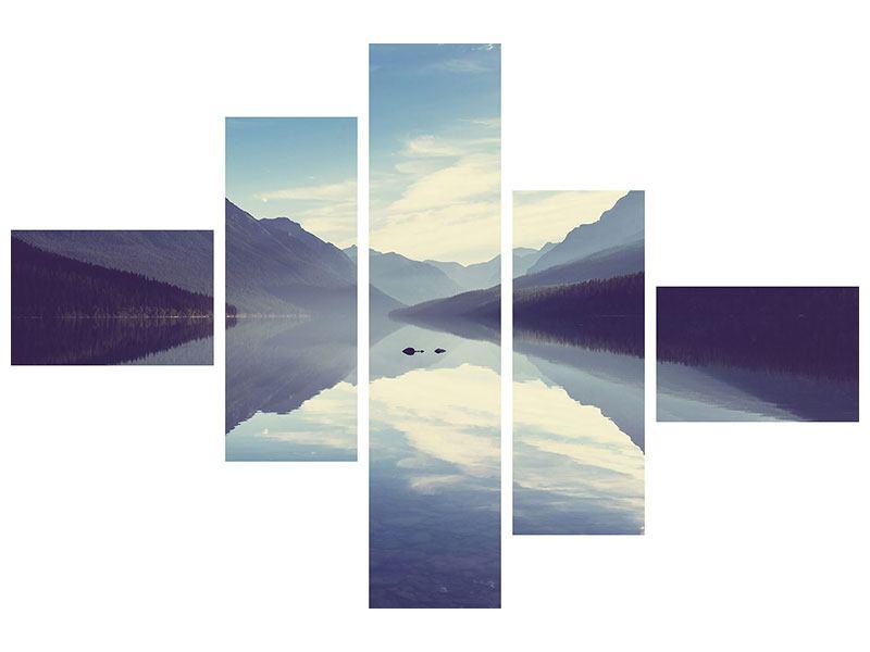 Hartschaumbild 5-teilig modern Bergspiegelung