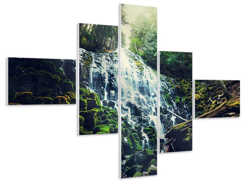 Hartschaumbild 5-teilig modern Feng Shui & Wasserfall