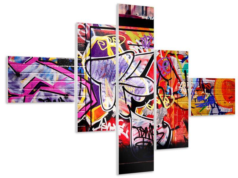 Hartschaumbild 5-teilig modern Graffiti Kunst