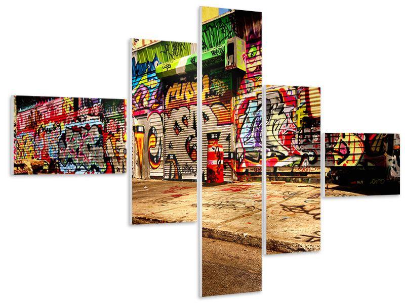 Hartschaumbild 5-teilig modern NY Graffiti