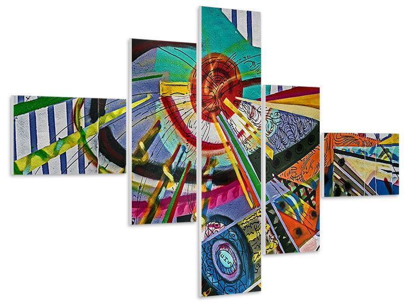 Hartschaumbild 5-teilig modern Künstlerisches Graffiti