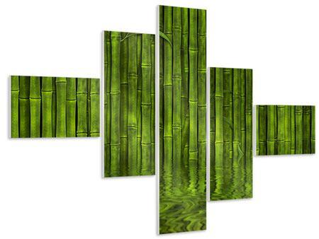 Hartschaumbild 5-teilig modern Wasserspiegelung Bambus