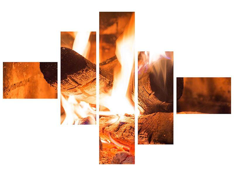 Hartschaumbild 5-teilig modern Kaminfeuer