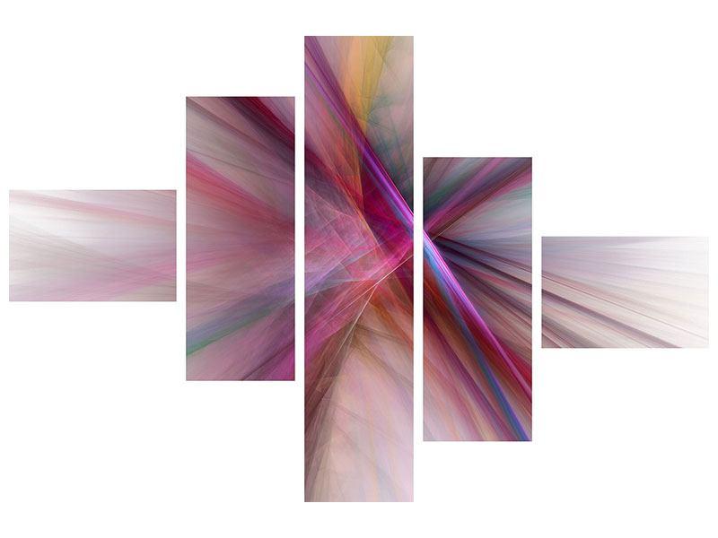 Hartschaumbild 5-teilig modern Abstraktes Lichterleuchten