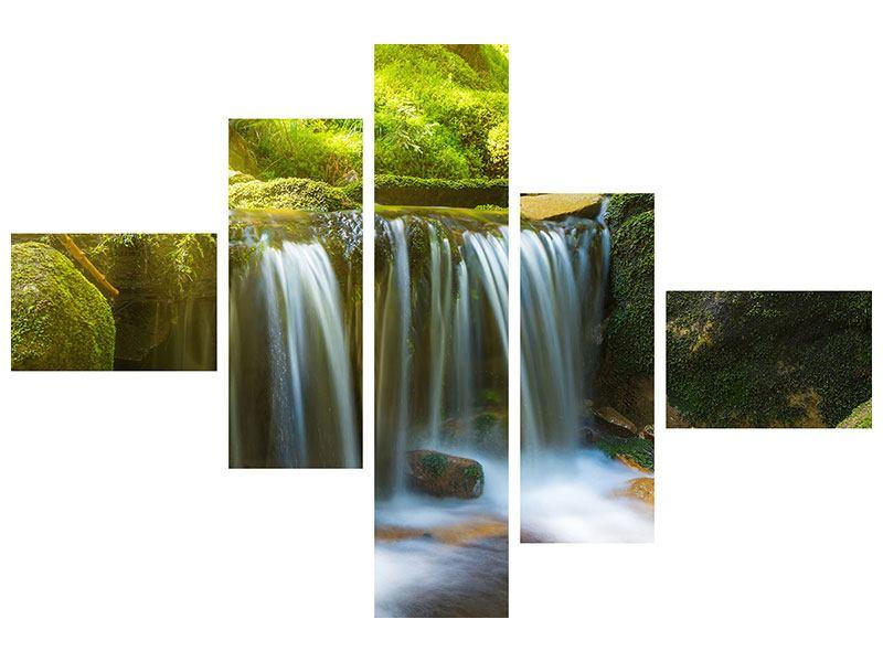 Hartschaumbild 5-teilig modern Schönheit des fallenden Wassers