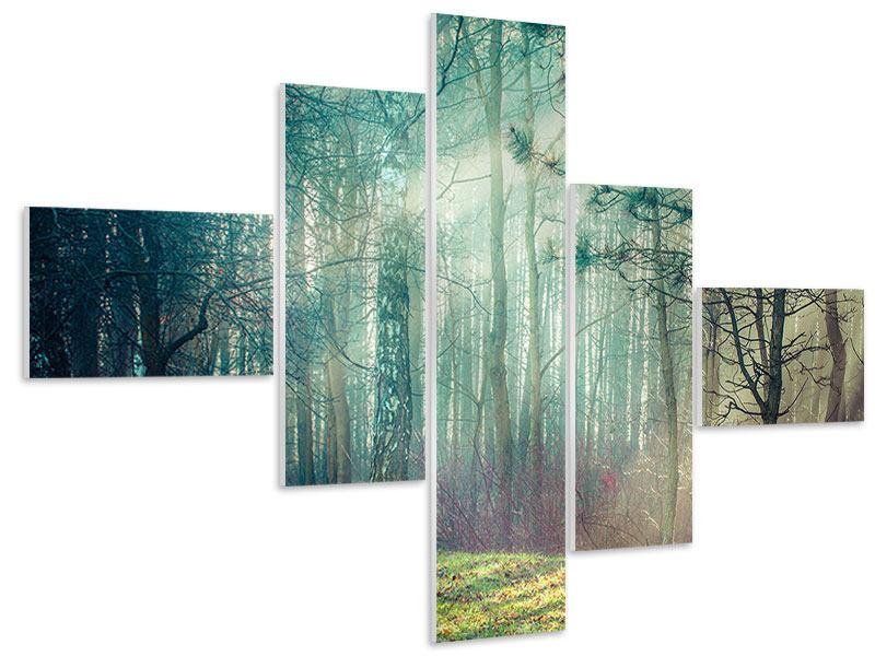 Hartschaumbild 5-teilig modern Pinienwald