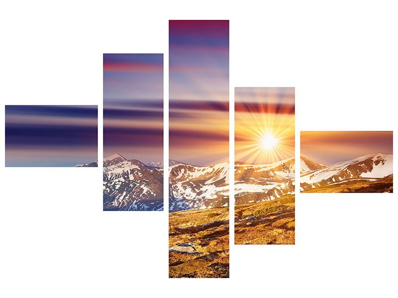 Hartschaumbild 5-teilig modern Majestätischer Sonnuntergang am Berggipfel