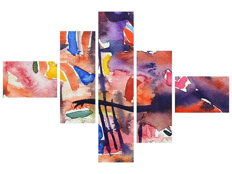Hartschaumbild 5-teilig modern Aquarell