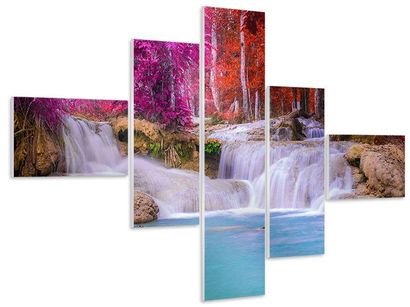 Hartschaumbild 5-teilig modern Paradiesischer Wasserfall