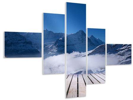 Hartschaumbild 5-teilig modern Sonnenterrasse in den Schweizer Alpen