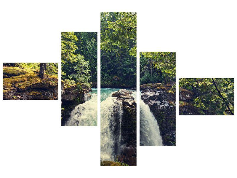 Hartschaumbild 5-teilig modern Flussströmung