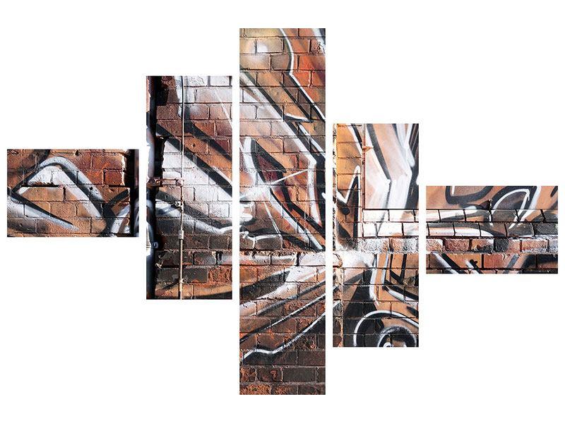 Hartschaumbild 5-teilig modern Graffiti Mauer