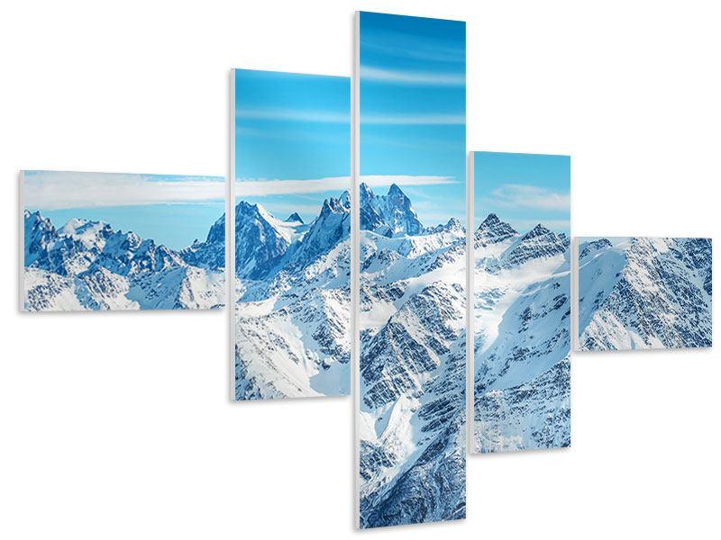 Hartschaumbild 5-teilig modern Alpenpanorama
