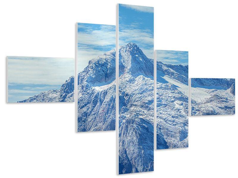 Hartschaumbild 5-teilig modern Friedliche Bergstimmung