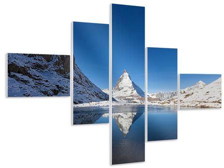 Hartschaumbild 5-teilig modern Der Riffelsee am Matterhorn