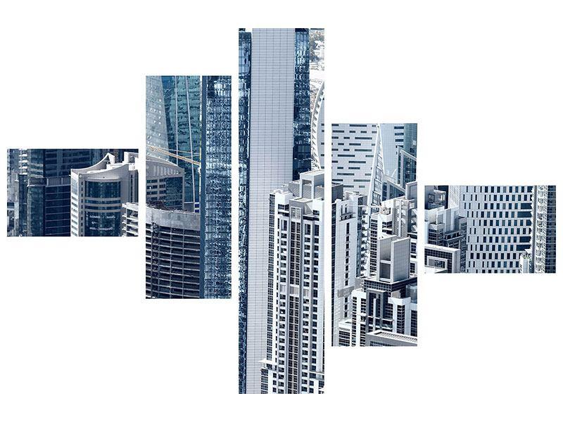 Hartschaumbild 5-teilig modern Die Wolkenkratzer von Dubai