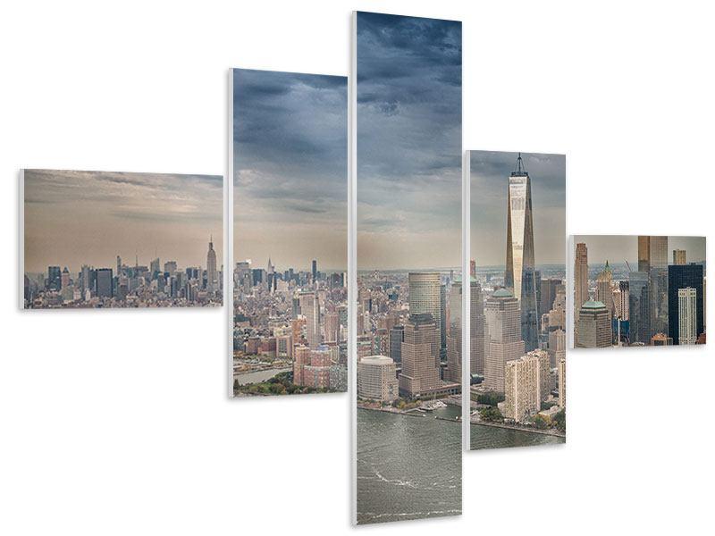 Hartschaumbild 5-teilig modern Skyline Manhattan