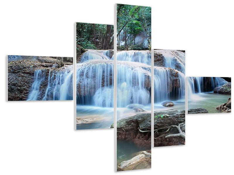 Hartschaumbild 5-teilig modern Ein Wasserfall