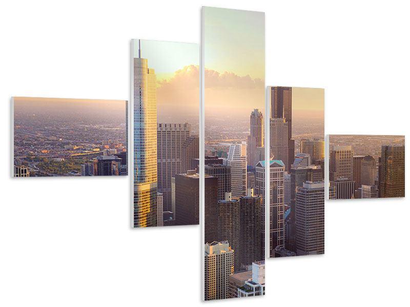 Hartschaumbild 5-teilig modern Skyline Chicago
