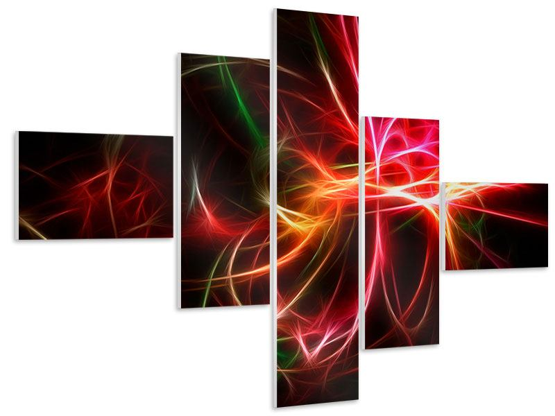 Hartschaumbild 5-teilig modern Fraktales Lichtspektakel